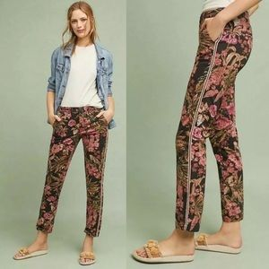 Anthropologie Floral Side Stripe Relaxed Chinos 25